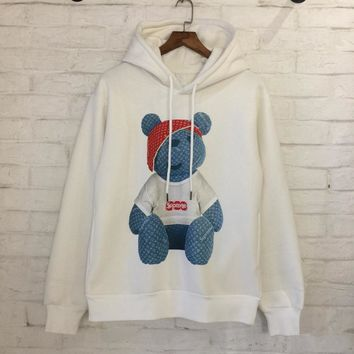 Supreme LV Denim Bear print Sweater Pullover Hoodie