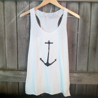 FREE SHIPPING- BACKORDER- Nautical Anchor, Hipster Anchor, Nautical Tank top (women, teen girls)