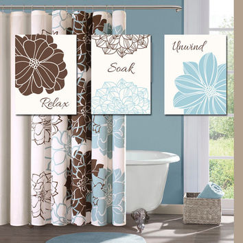 Blue Brown BATHROOM Wall Art CANVAS or Prints Bathroom Outline Flower Set of 3 Wall Relax Soak Unwind Quote Bath