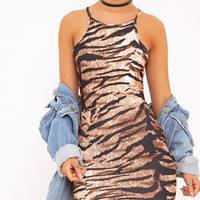 Elvie Taupe Tiger Print Bodycon Dress