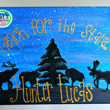 """Woodland glow in the dark """"reach for the stars ___________"""" silhouette Nursery decorative wall decoration"""