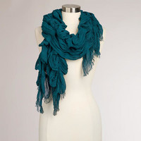 Teal Ruched Scarf | World Market