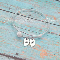 Flower petals bracelet - Hand Stamped - Personalized - Silver Plated - Bangle bracelet - Mom - Sister - Aunt - Grandma