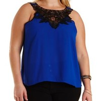 Plus Size Blue Chiffon & Crochet Swing Tank Top by Charlotte Russe