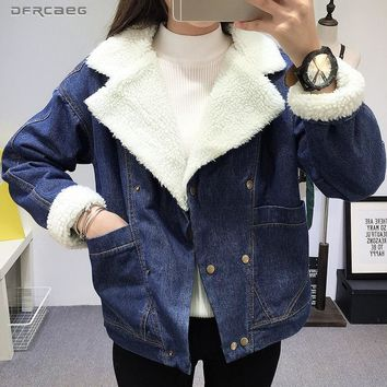 Winter Warm Lambswool Jeans Jacket Women 2018 Fashion Double-Breasted Blue Thicken Fur Denim Coat Warm Lining Outwear Female