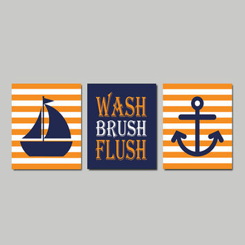 Kids Nautical Bathroom Decor WALL ART Wash Brush Flush Navy Orange Sailboat Anchor Bathroom Rules Boy Bathroom Art Set of 3 Prints Or Canvas