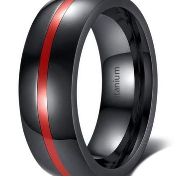 CERTIFIED 8mm Black Stainless Steel Thin Line Polished Finish Wedding Band Ring