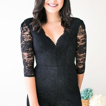 Piper Sweetheart Black Lace Romper