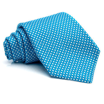 Kiton Aqua with Mini White Diamonds Tie