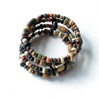 Wood beaded bracelet - stack of four bangles in one