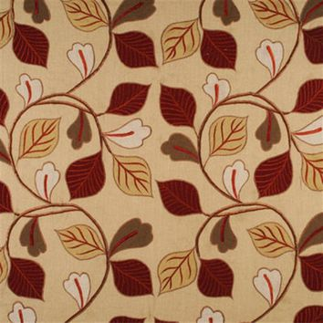 Mulberry Fabric FD646.V128 Garrick Leaf Red/Green/Gold