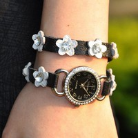 Handmade Leather Flower Wrap Watch