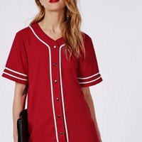 Missguided - Bad Gal Button Through Boyfriend Baseball Jersey Tee Red