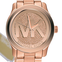 Michael Kors MK5661 Runway MK Logo Rose Gold Glitz Dial Steel Women Watch NEW