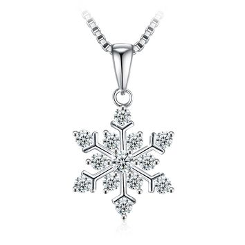 "Necklace, Christmas Gift with Exquisite Package 925 Sterling Silver Pendant Necklace with 5A CZ J.Rosée Fine Jewelry for Women ""Snowflake"", 18''+ 2"" Extender"