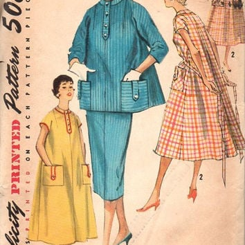 Simplicity 1950s Sewing Pattern 1766 Vintage Maternity House Coat Tent Dress Slim Skirt Loose Fit Wide Retro Style Bust 36