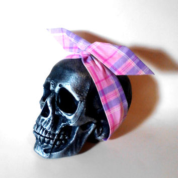 Pink Plaid, Purple Plaid, Glitter Headband, Pink Headband, Purple Headband, Dolly Bow, Wire Headband, Pin Up Headband, Retro Headband, Plaid