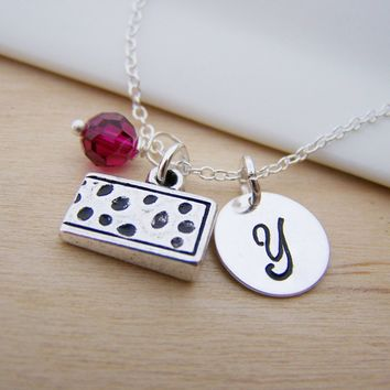 Swiss Cheese Charm Swarovski Birthstone Initial Personalized Sterling Silver Necklace / Gift for Her