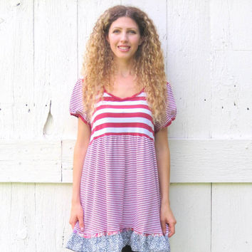 Upcycled Babydoll Tunic , Womens size Large XL red and white striped bohemian shirt , Handmade Romantic refashioned clothing by wearlovenow