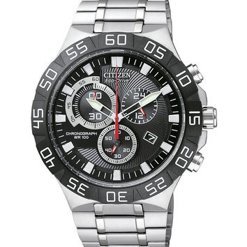 Citizen AT2090-51E Men's Eco-Drive Black Dial Stainless Steel Chronograph Watch