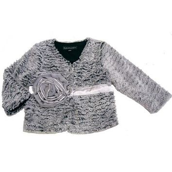 Isobella & Chloe Fancy Fur Silver Rose Jacket