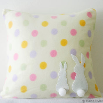 Two Little Lovely Rabbits Soft Yellow Polka Dots Pillow Cover. Spring Summer White Bunny. Pom Pom Tail