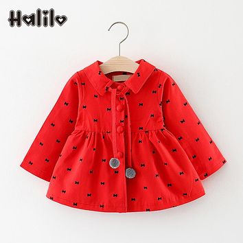 Halilo Baby Girls Princess Coat Bow Print Spring Girls Coats And Jackets Fashion Baby Girl Outerwear Coat Newborn Jacket Clothes