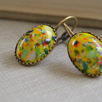 Yellow Boho Millefiori Glass Earrings, Vintage Glass Cabochon, Yellow Multi-Colored Speckled Lever Back