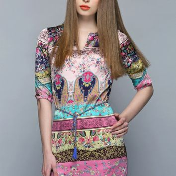 Printed Sleeve Tie-Waist Asymmetrical Dress