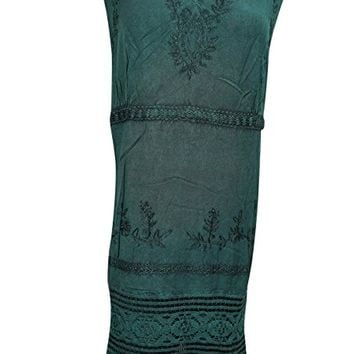 Mogul Women's Dress Embroidered Sleeveless Green Hippie Lace Midi Sundress XXL