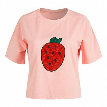 Pink Short Sleeve Round Neck Strawberry Embroidery Shirt