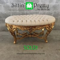 SOLD* Antique Rococo Bench Beige Creme Velvet Tufted w/ Crystal Buttons Gold Leaf Gild Frame Shabby Chic Floral Handmade Baroque