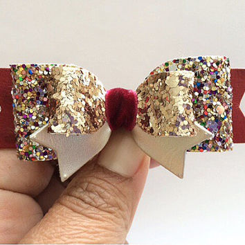 Glitter Bows,Rose Gold and Burgundy Hair Bow,Cranberry and Gold Sparkling Hair Clip, Leather Bow, BESTSELLER bow,Hair clip, clippies