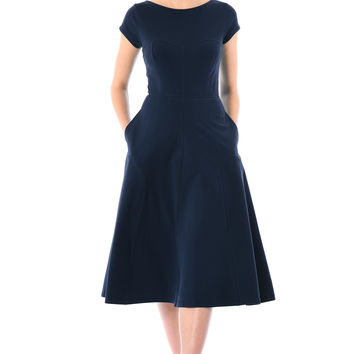 Princess seamed cotton knit dress