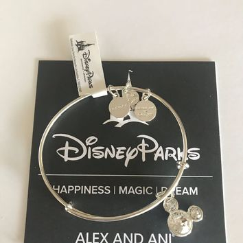 Dinsye Mickey Mouse Birthstone Bangle by Alex and Ani April Silver Finish New