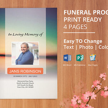 Funeral Program Template, Memorial Program, Obituary Template | Editable With Microsoft Word, Publisher & Mac Page, Instant Download - EF35