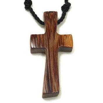 Men's Cross Necklace, Cross Pendant Necklace, Mens Jewelry Cross, Religious Pendant, Wood Cross Necklace, Marblewood Cross Pendant