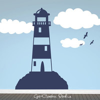 Lighthouse Wall Decal Clouds Seagulls Ocean Ship Beach Nautical Boys Fisherman Blue White Sky Birds Boat Sticker Room Bedroom Maritime Fun