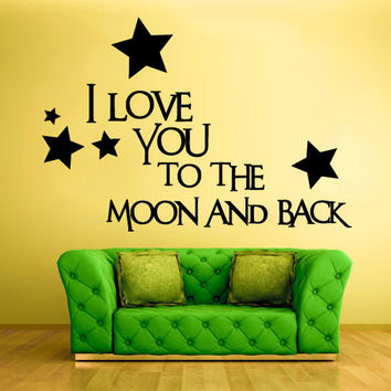 rvz1276 Wall Decal Vinyl Sticker Quote Sign Words Love Moon Back