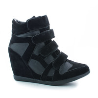 Woo71 Velcro Multi Strap Hidden High Wedge Heel Ankle Fashion Sneakers