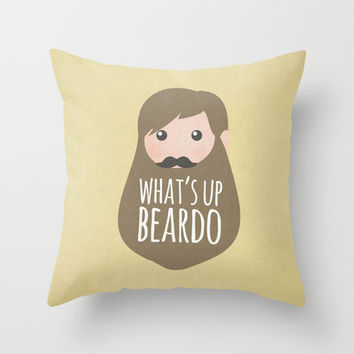 What's up beardo Throw Pillow by Beardy Graphics