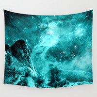 Space teal rocks Wall Tapestry by Haroulita | Society6