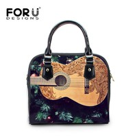 FORUDESIGNS Guitar Printed Women Handbags Fashion PU Leather Female Crossbody Shoulder Bags Small Girls Ladies Casual Bags Tote