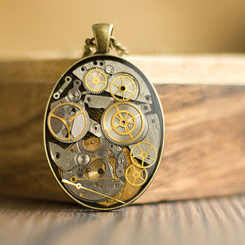 Steampunk Necklace, Time Pendant, Old Watch Parts Pendant