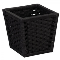 "Paper Rope Stained Waste Basket - Black (Black) (9.65""H x 9.65""W x 9.65""D)"