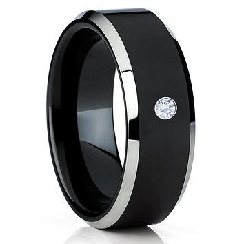 Black Tungsten Ring - White Diamond Tungsten Ring - Black Tungsten Band