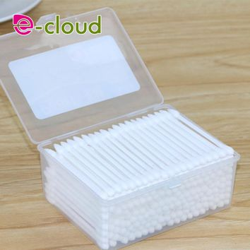 200Pcs High Quality Double Head Health Makeup Cosmetics Ear Clean Jewelry Clean Cotton Swab Stick Wood Cotton
