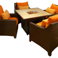 One Kings Lane - Autumn in the Country - Saratoga 5-Pc Fire Table Seating Set