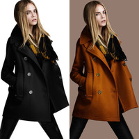 Fashion Womens Warm Wool Cashmere Double Breasted Long Parka Coat Trench Outwear