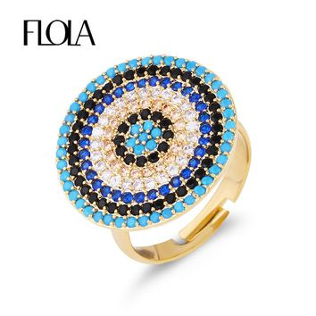 FLOLA Gold Round Turkish Evil Eye Ring Fancy Luxury Cubic Zirconia CZ Open Adjustable Rings for Women Girls Dubai Jewelry rige71